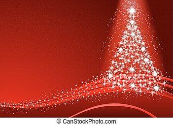 Abstract Christmas tree with snow o
