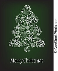 Abstract Christmas tree with snowflake