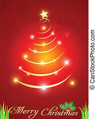 abstract  christmas tree with spark