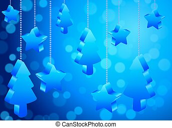 abstract christmas trees and stars with Bokeh background
