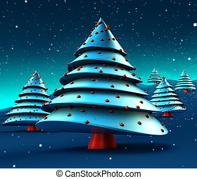 Abstract Christmas Trees Design - Christmas trees with snow ...