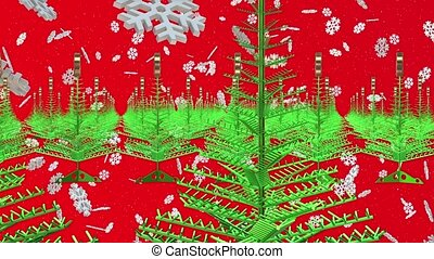 Abstract Christmas trees on red