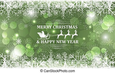 Abstract Christmas vector background. Santa on sleigh with reindeer in headline.