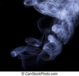 Abstract cigar smoke on black