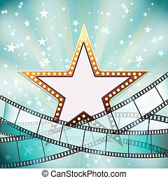 abstract cinema background with golden star