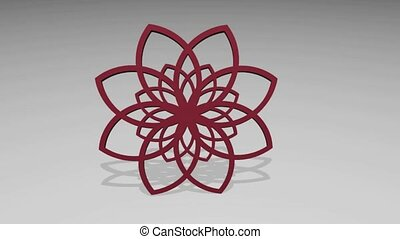 Abstract circle 3D red rosette on light gray background,...