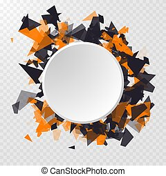 Abstract Circle Banner. Advertisement panel, infographic background, item showcase concept. Abstract triangles particles with transparent shadows.