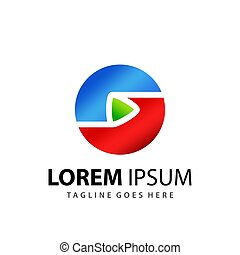 Abstract Circle Corporate Play Media Logo Design Template Premium Vector