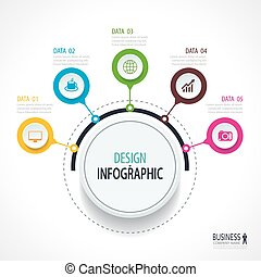 Abstract circle infographics number options template. Vector illustration background. Can be used for workflow layout, diagram, data, business step options, banner, web design.