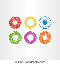 abstract circle logo business icons set collection