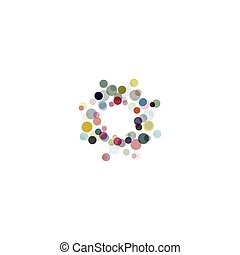 Abstract circle logotype set. Unusual dotted round isolated chem logo collection. Virus icon. Colorful sun. Flower symbol. Confetti sign. Vector germs illustration.