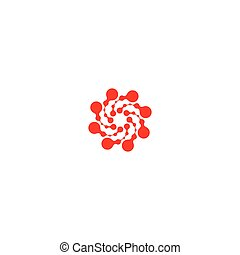 Abstract circle logotype. Unusual dotted round isolated chem...