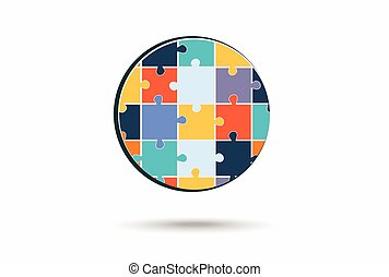 Abstract circle made of puzzle pieces