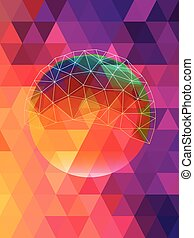 Abstract circle network on pink triangles background
