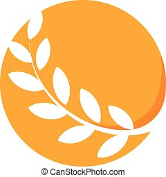 Abstract circle orange color logo, branch with leaves, round wheat icon. Round shape logotype.