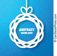 Abstract Circle Paper Applique on Bright Blue Canvas Background