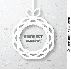 Abstract Circle Paper Applique on Gray Background.