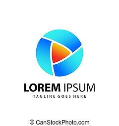 Abstract Circle Play Media Logo Designs Template Premium Vector