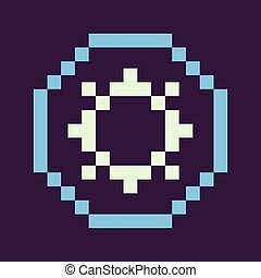 Abstract Circle Settings Pixel Icon of Game Vector - Setting...