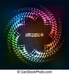 Abstract circle shining lights vector frame