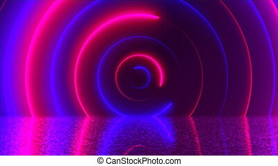 Abstract circles neon tunnel with reflection, computer generated background, 3D rendering