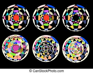 abstract circles on a black background. template