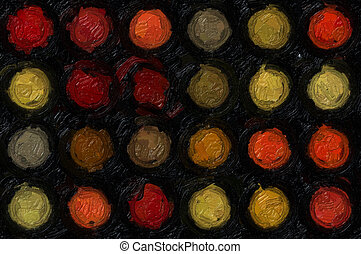 oil paint - Abstract circles pattern illustration. Rough oil...