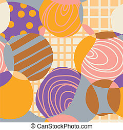 Abstract circles retro seamless pattern sketch style