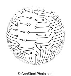 Abstract circuit board sphere