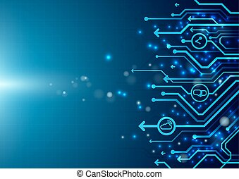 Abstract circuit board with social icon on blue background