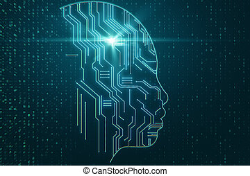 Abstract circuit head on coding background. AI and software concept. 3D Rendering