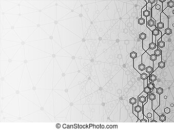 Abstract circuit hexagon Background with mesh