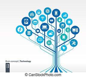 circuit technology background. Brain concept
