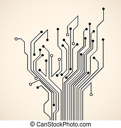 Abstract circuit tree. Vector background
