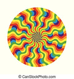 Abstract circular pattern of multicolored wavy line -...