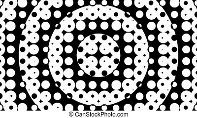 Abstract circular transition or circular waves of small circles. Black and white 4k seamless looped video
