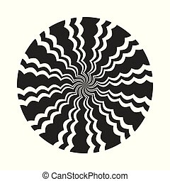 Abstract circular wavy line pattern - Abstract black and...
