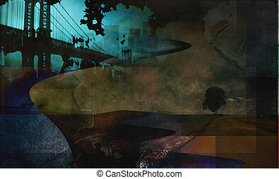 Abstract city and grunge landscape with tree