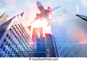 Engineering and aero technology concept - Abstract city...