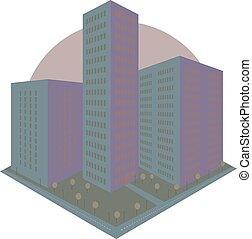Abstract city block icon in perspective