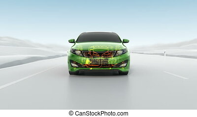 Abstract City car structure overview during driving View -...