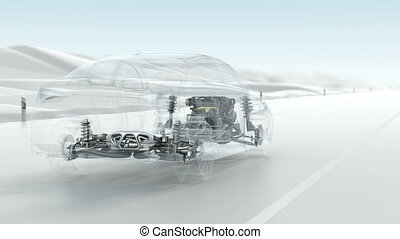 Abstract City car structure overview during driving View . -...