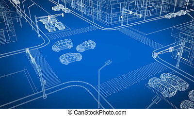 Abstract City Crossroad with Traffic Blueprint Illustration....