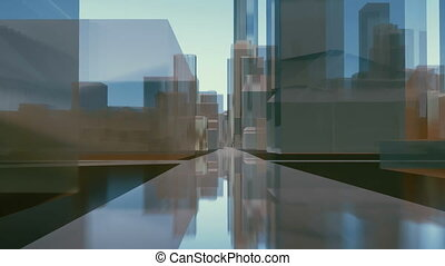 Abstract city downtown mirror buildings street 4K