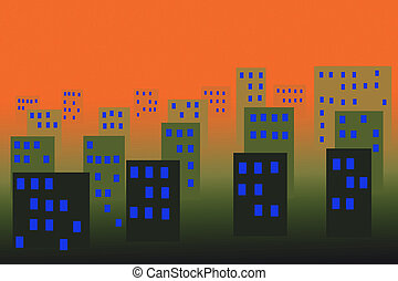 abstract city in the night