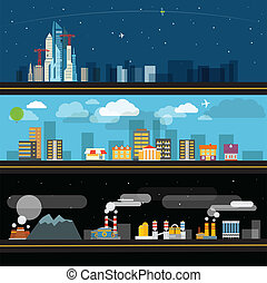 Abstract city map illustration set. Ftat design