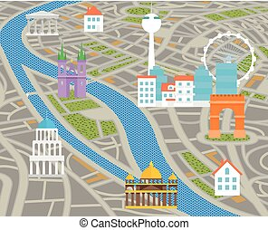 Abstract city map with silhouettes of houses