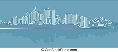 Abstract city on a blue background..eps
