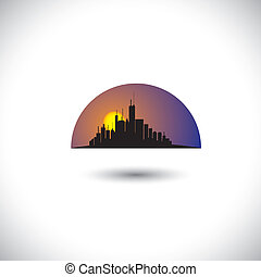 abstract city skyline silhouette with sun-setting sky background. This concept vector graphic represents a modern city downtown skyscrapers in the mornings & evenings