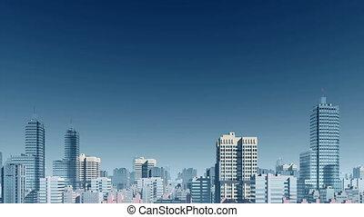 Abstract city skyline skyscrapers panorama - Panorama of...